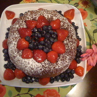 Red White & Blue Poundcake   Homemade pound cake with blueberrie, strawberries & confectioner's sugar.