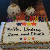Family Birthday Celebration Cake Funetti cake & frosting with Wilton fondant stars which I cut out.