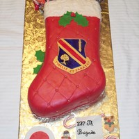Military Stocking This cake is for my husband's sister unit 237th BSB for the military.
