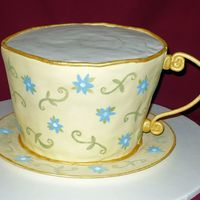 Tea Cup Tea cup for a Victorian party. Lemon cake with BC icing and lemon fondant.Hand painted accents.