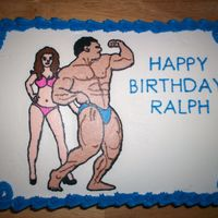 "Bodybuilder Birthday 9"" X 13"" vanilla cake, with crushed pineapple filling and coconut frosting. Bodybuilder and bikini girl made using frozen..."