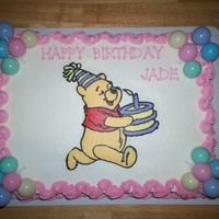"Winnie The Pooh Birthday Cake Half vanilla, half chocolate 11"" X 15"" sheet cake, iced in buttercream frosting. Pooh is a frozen buttercream transfer. (FBCT)..."