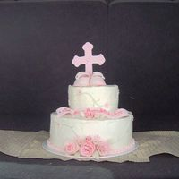 "Bernadette's Christening Cake  This cake is one of the few scratch cakes I've made. Scratch pound cake with homemade ""bettercreme-like"" frosting (it's..."