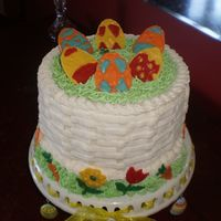 Easter Cake   Chocolate cake with buttercream frosting. The decorations were made with Candy Melts.