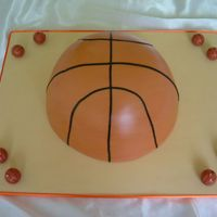 Basketball Cake Half basket ball acke covered in fondant