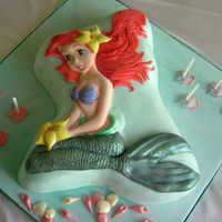 Little Mermaid Cake This cake was done using the face plate but covered all in fondant icing ..the cake was sprinkled with edible glitter and the candle...