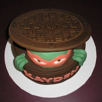 Top Of Tmnt Cake Topview of the Manhole Cover.