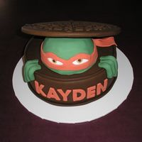 Teenage Mutant Ninja Turtle I was asked to make a 5th birthday cake, just a plain round one will do, with maybe a picture of TMNT on it!...WELL, I browsed the gallery...