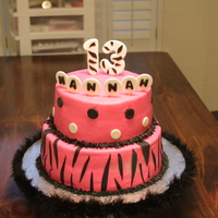 Zebra/polka Dot Birthday Cake 8 in ans 6 inch cakes. Iced in Buttercream icing with fondant accents