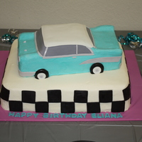 Classic Car  This is a hand carved car cake stacked on top on top of 11x15 sheet cake. Car is iced in buttercream with fondant accents. Sheet cake is...