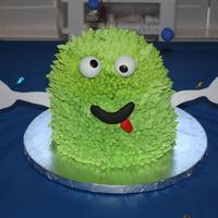 Monster Cake  This is 2 - 8 x 3 in. cakes stacked. Then I baked a third cake in an 8 in. glass bowl to give him the round top and stacked. Iced in stiff...