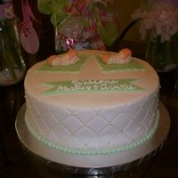 Twins Baby Shower This is a 10 inch chocolate cake. Iced in vanilla butter cream that is tinted pick with green sugar pearl accents. Babies, blanket, and...