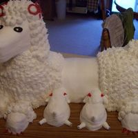 Poodle With Babies chocolate cake with BC, head is styrofoam