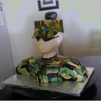 Soldier.jpg   i used the template for spiderman. the hat is fondant and the rest is covered in buttercream