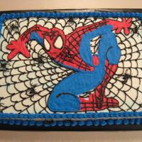 Another Spidey Cake Sheet cake iced in buttercream with Spiderman FBCT