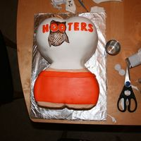 Hooters Chocolate cake with chocolate mousse filling. Any Hooters would be happy to have this girl ;)