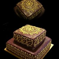 Mehndi Anniversary Cake Mehndi style cake. Piped in royal icing, painted with gold luster dust