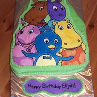 The Backyardigans This was my very first frozen buttercream transfer. I made the mistake of shaping the cake but forgetting that the image gets flipped!...