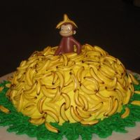 Curious George Chocolate cake with buttercream, MMF bananas, George is plastic. Inspired by bmote1. Thanks for looking!