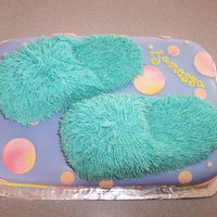 Fuzzy Slippers I used fondant and buttercream icing. This was a quick and easy cake!