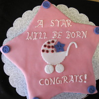 Baby Shower Star Theme  Was a last min request. Used fondant for the buttons and 9 and 8 inch circles to create the star.. Red velvet with cream cheese filling and...