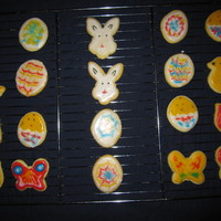 Easter Cookies Easter sugar cookies, decorated with sugar icing. All the tie and dye decorated cookies were made by the kids..