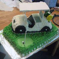 Golf Cart Cake From a Wilton design. Made for my boss' 50th birthday tomorrow (not that he deserves it). Lemon cake, buttercream icing, fondant...