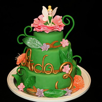 Tinkerbell Cake For Ada 3 Years   The cake is 20-15 and 10 cm so the gum paste Tinkerbell is not so large.