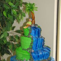 "Topsy Turvy Luau This is a Topsy turvy cake (12"", 8"", and 6"") covered in BC and accented in MMF..This is the 1st time I did the topsy turvy..."