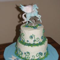 Unipeg, Pegacorn, Or Unicorn  This cake is for a little girl who wanted a unicorn with wings, also known as a unipeg or pegacorn. The topper is a collectible from ebay....