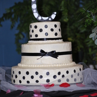 "Hannah's Cake  6"", 10"", & 14"" round - all red velvet cake with cream cheese frosting and fondant accents. The ribbons are satin. There..."