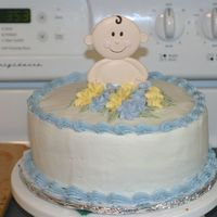 First Baby Shower This is my first baby shower cake. The flowers are RI. The cake is white with strawberry filling. It was yummy. I was called the night...