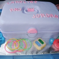 Caboodle! Caboodle cake for two little girls having an 80's party! The accessories are all fondant - I used molds for some and free-handed...
