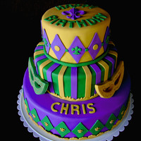 Chris' Birthday Mardi Gras themed birthday cake. The masks and all decorations are fondant.