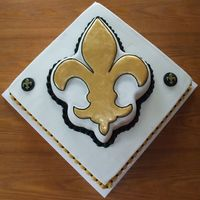 "Fleur De Lis This was a groom's cake - they just wanted New Orleans Saints colors. I used the pantastic plastic fleur de lis pan and an 12""..."