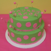 Girly Birthday Cake Pink and green to match a cake on her invitation.