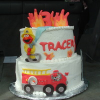 Fireman Birthday Made cake for friend's son with lots of ideas from CC (thank you). Flames, and letters made out of royal. Firetruck etc.. fondant
