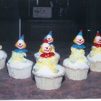 Clown Cupcakes For A Birthday Party Vanilla cupcakes with vanilla buttercream frosting.