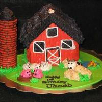 Barnyard Marshmallow fondant animals, darth vader fudge stripe cookies for the silo, rice crispie treat hay bales. I used the wilton stand up house...