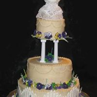 Pansies This is supposed to be an ivory cake, but it looks yellow next to the white accents. The flowers are royal icing and the fence is color...