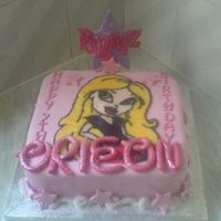 Bratz Birthday Cake   Sponge cake filled with bc and jam, covered in fondant with gumpaste decorations and ri runout Cloe.
