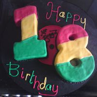 Record 18Th Bday Cake   Cake for my dj godbrother in rastafarian colours, was so happy when i got it finished, stripes on shaped cakes are not a good idea lol