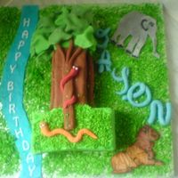 Jungle Cake Sponge cake filled with bc and jam, covered in fondant with fondant decorations and dessicated coconut grass. the lion was a ri runout but...