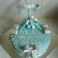 Blue And Silver Anniversary Cake
