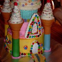 Candy Castel A cake for my nieces birthday. A10 inch pound cake,8 inch chocolate and half and half cupcake. All buttercream and 3 layers. couldnt use...