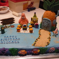 Spongebob Square Pants   Made for grandson's 7th birthdayRoyal coral, marshmellow patrick, & fondant