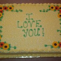 "Reunion Cake This is a half-sheet dark chocolate fudge cake with cream cheese icing. All she specified was the ""I love you!"" and pretty...I..."