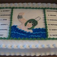 Msu Senior Swim Team This is a half-sheet marble cake iced in buttercream. This cake was to celebrate the MSU senior team members' last meet. The names are...