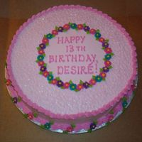 "Pink Birthday Cake This is a 12"" round French vanilla cake, no filling. The birthday girl requested pale pink icing with brighter pink, purple, and..."