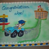 "Joe's Graduation This was such a fun graduation cake! Joe had struggled all through school, so his mom wanted a cake that celebrated his ""release""..."